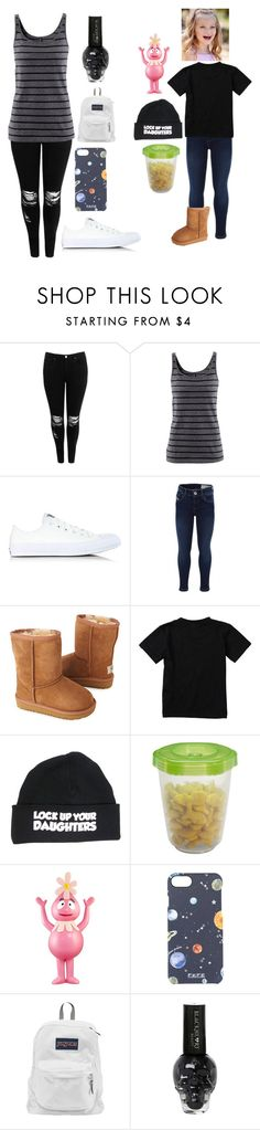 """""""Untitled #1200"""" by xxghostlygracexx ❤ liked on Polyvore featuring Boohoo, H&M, Converse, UGG Australia, Quiksilver, Gerber, Fefē and JanSport"""
