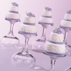 Tiny Blossoms Cakes on upside down champagne glasses