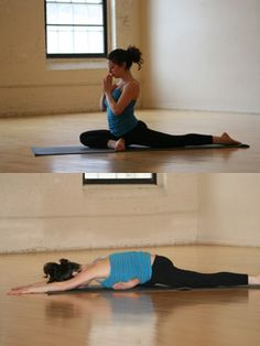 Pigeon pose for tight hips. Favorite yoga position