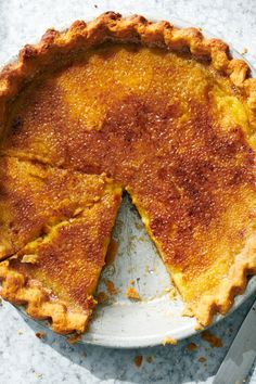 NYT Cooking: This crowd-pleasing dessert imitates the velvety custard and carame. NYT Cooking: This crowd-pleasing dessert imitates the velvety custard and caramelized sugar shell of a crème b Pie Recipes, Dessert Recipes, Cooking Recipes, Desserts, Creme Brulee Pie Recipe, Most Popular Recipes, Favorite Recipes, Butter Pie, Custard