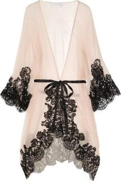 Rosamosario Mezza Luna Silk-Crepe and Lace Robe by anaymr