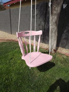 outdoor swing from a salvaged thrift store chair