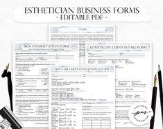 Esthetician Business Planner Editable Skin Care Consultation | Etsy Facial Esthetician, Medical Esthetician, Hair Salon Price List, Esthetician Supplies, Beauty Room Salon, Esthetics Room, Eyelash Technician, Facial Fillers, Editable