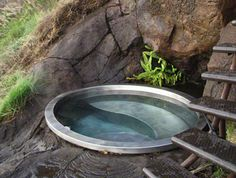 Soaking In Stainless Steel and Copper. Recycled Sheet Metal Diamond Spas.