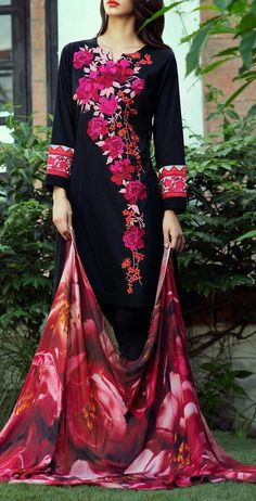Buy Black Embroidered Wool Crepe A-line Dress by Bonanza 2015 Email… Pakistani Outfits, Indian Outfits, Kurta Designs, Blouse Designs, Vestidos Color Rosa, Embroidery Suits, Rose Embroidery, Embroidery Designs, India Fashion
