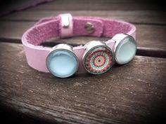 """Armbänder - Lederarmband """" rosa pastell """"  mit Schiebeperlen - ein Designerstück von Frau-Wiesenfuchs bei DaWanda"""