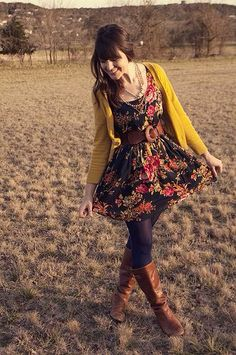 Mustard Yellow Cardigan & Dress