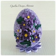 purple egg Paper Quilling Tutorial, Paper Quilling Patterns, Paper Quilling Jewelry, Origami And Quilling, Quilled Paper Art, Quilling Paper Craft, Quilling 3d, Paper Flower Tutorial, Quilling Designs