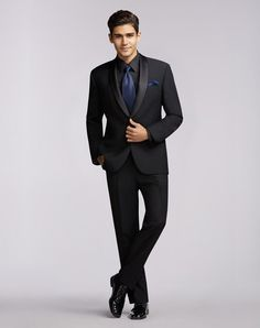 Cut from high-quality 100% wool, our Calvin Klein tuxedos are perfect for any formal occasion.  Available in slim fit.