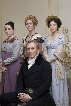 Sally Hawkins as Anne Elliot, Julia Davis as Elizabeth Elliot, Anthony Head as Sir Walter Elliot and Amanda Hale as Mary Musgrove in Persuasion (2007).
