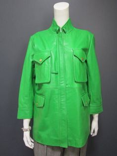 KENZO green leather jacket NEW with TAG size 44 french   #Kenzo #leatherjacket