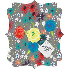 Vy La Bloomimg Love Gray Quatrefoil Magnet Board