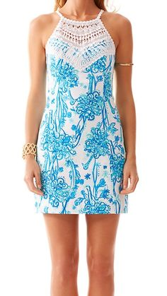 Lilly Pulitzer Pearl Lace Neck Shift Dress in Back it Up- amazing details