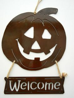 Pumpkin Welcome Sign Metal Art for Outoors or by Steelhouettes, $38.00
