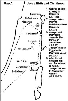 Map Of Journey Of Mary And Joseph From Nazareth To