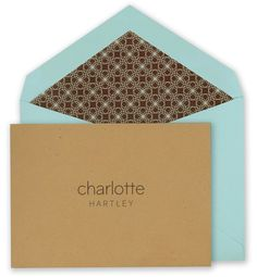 Kraft Brown Note Cards with Robin's Egg Blue Envelopes