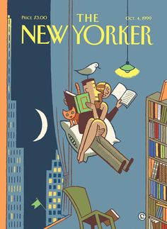 Ever Meulen ), Belgian / cover of The New Yorker magazine, October 1999 . depicts man and woman reading books floating on cushion in midair bu bookshelves, reading light The New Yorker, New Yorker Covers, Denis Zilber, Vincent Willem Van Gogh, Magazine Art, Magazine Covers, Books To Read For Women, Ligne Claire, Comic Styles