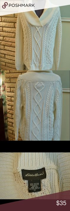"Vintage Gorgeous Eddie Bauer White Sweater, M Beautiful collar and knit pattern- in perfect condition. Super warm and comfy.                                           Model in picture is 5'0"" and usually wears a S/M Eddie Bauer Sweaters Cowl & Turtlenecks"