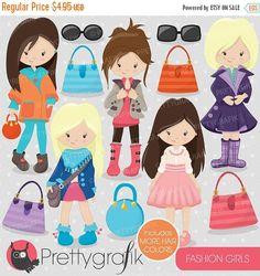 80% OFF Venta Moda chicas clipart comercial por Prettygrafikdesign