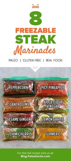 A good marinade makes a better meal. Here are 8 freezable marinades for you to add to your cooking and freezer reserve. Steak Marinade Recipes, Marinade Sauce, Sauce Recipes, Paleo Recipes, Real Food Recipes, Cooking Recipes, Yummy Food, Quick Recipes, Delicious Recipes