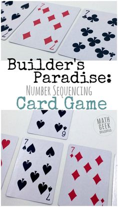 This fun and easy Kindergarten card game is a low-prep way to practice important math skills. Work on sorting, sequencing and counting. All you need is a deck of cards! Easy Math Games, Math Card Games, Card Games For Kids, Kindergarten Math Activities, Educational Activities For Kids, Homeschool Math, Teaching Math, Sequencing Activities, Kids Math