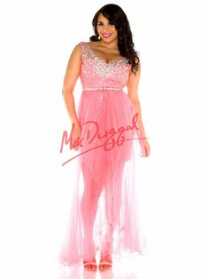 Neon Coral Plus Size Prom Dress | High Low Dress | Mac Duggal 65067F