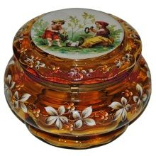 6.Bohemian Glass and crystal has been manufactured in Bohemian, Czech Republic since the 13th century.  Much research, books, catalogues and photo libraries can be found online.  Two of the best places to view rare antique bohemian glass are at the National Museum in Prague and at Munich Steins.