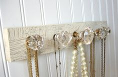 To display running medals...Jewelry Rack Necklace Organizer with Five Clear by sweetsadiek, $32.00