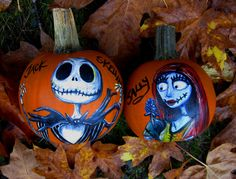 For the whole month of October I've been on a huge Nightmare Before Christmas kick.so I decided to paint Jack and Sally on pumpkins to get in the spir. 'Simply Meant to Be' pumpkins Pumpkin Art, Pumpkin Crafts, Baby In Pumpkin, Pumpkin Carvings, Pumpkin Painting, Scary Pumpkin, Pumpkin Faces, Pumpkin Ideas, Pop Culture Halloween Costume