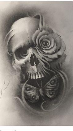none Clock Tattoo Design, Tattoo Designs, Tattoo Caveira, Skull Rose Tattoos, Tattoo Studio, Tattoo Project, Dark Tattoo, Skulls And Roses, Skull Design
