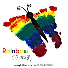 Messy Little Monster: Rainbow Footprint Butterfly