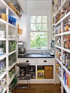 walk in pantry design all about the shelves in this pantry storage solutions we love at design connection inc kansas city interior design Kitchen Pantry Design, Diy Kitchen Storage, New Kitchen, Kitchen Decor, Kitchen Ideas, Kitchen Pantries, Smart Kitchen, Kitchen Worktop, Stylish Kitchen
