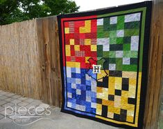 Hogwarts Quilt with Crest - Harry Potter Inspired..... I need this in my life, please.