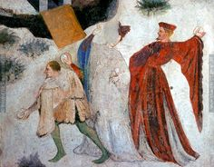 Epic Medieval Snowball Fights: From a fresco in Buonconsiglio Castle, c.1405-1410. Faceshot!!!