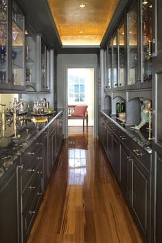 sleek gray - the new look.......cabinets with a special finish that almost look like metal! very cool.