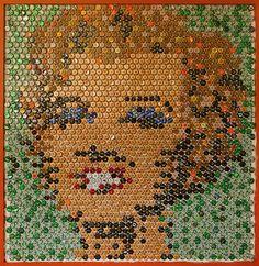 Marilyn Monroe Bottle Cap Portrait #Artwork, #Beer, #Bottle, #Caps, #Mosaic, #Portrait