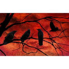 Red Crow Sky Photo Montage Photographic Print by ImagesByRoka. $45.00, via Etsy.