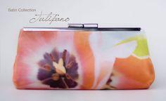 Bridesmaid clutch floral satin clutch handbag coral by evaricci, $85.00