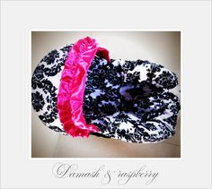 Image detail for -Infant Car Seat Cover for Baby Damask Print with Raspberry Ruffle ...