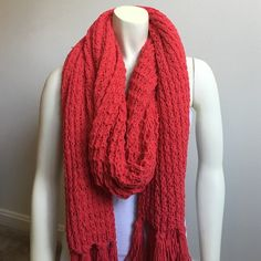   Hollister   Waffle Knit Red Scarf Super super thick and very warm scarf! I never got the chance to wear it so it has never  been  used. The scarf  is incredibly  warm and soft!!! will add a pop of color to any outift! Hollister Accessories Scarves & Wraps