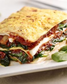 Spinazielasagne met champignons en tomaat