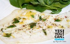 Baked Fish with Sautéed Spinach and Romesco Sauce - A healthy option for your Yes You Can! Diet Plan dinner