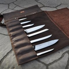 Chef Knife Roll / The Infinite Cow Knife Roll / by TheInfiniteCow Pocket Knife Brands, Best Pocket Knife, Leather Roll, Leather Case, Black Leather, Chef Knife Case, Home Theater Decor, Case Knives, Professional Chef