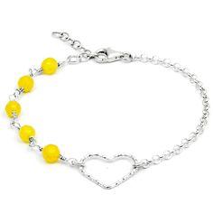 Pulsera Tú y Yo con corazón de Plata de Ley, cadena y Ágata amarilla engarzada a mano. Cierre y cadena extensora en Plata de Ley.