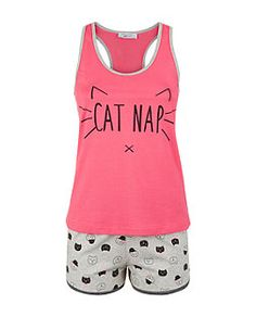 Teens Pink Cat Nap Vest and Short Pyjamas  | New Look