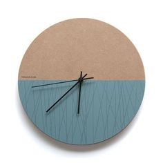 Line Wall Clock Half unfinished MDF Board, Half painted turquoise by hand and hand drawn diameterSilent sweep clock mechanismBlack hour, minute and s