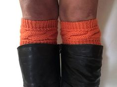 Orange Boot Cuffs Cable Knit Boot Liners Toppers by MadebyMegShop #bootsocks #bootcuffs #boottoppers #bootliners #cableknit