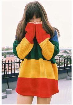 Striped Pullover Scoop Knit Coarse Yarn Loose Sweater
