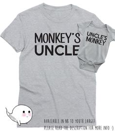 Matching Uncle Nephew or Niece Shirts Tees T-shirt Fathers Day Gift Idea Mens Infant Baby Shower Toddler Child Present Uncle to be Brother by BoooTees on Etsy https://www.etsy.com/listing/270814501/matching-uncle-nephew-or-niece-shirts