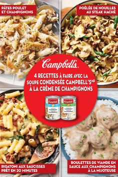 Discover 4 delicious recipes you can make with Campbell's® Condensed Cream of Mushroom Soups Mushroom Soup Recipes, Chicken Soup Recipes, Meat Recipes, Crockpot Recipes, Cooking Recipes, Healthy Recipes, Delicious Recipes, Recipe With Cream Of Mushroom Soup, Recipes